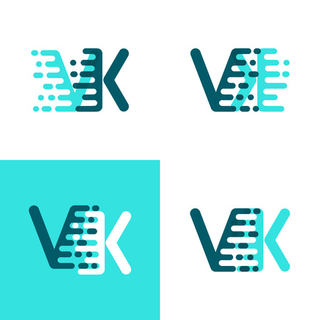 VK letters logo with accent speed green and blue