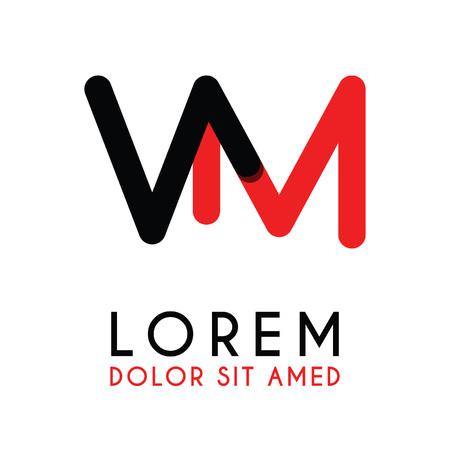 Lettre initiale VM avec rouge noir et a des coins arrondis