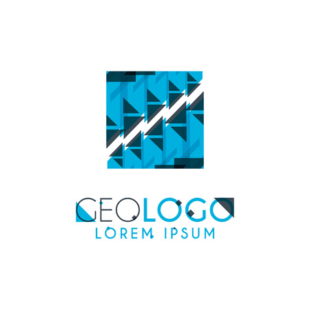 geometric logo with light blue and gray stacked for design 6.2 Illustration