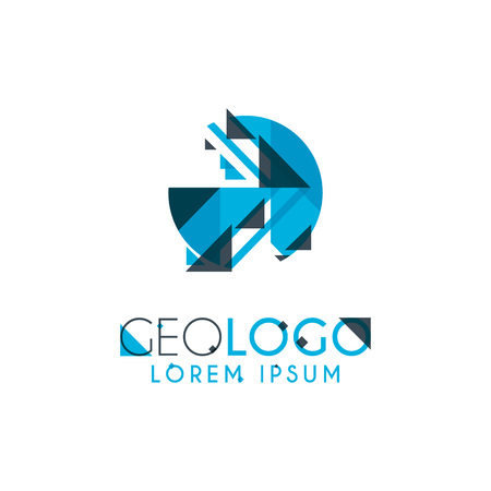 geometric logo with light blue and gray stacked for design 4.3 Illustration