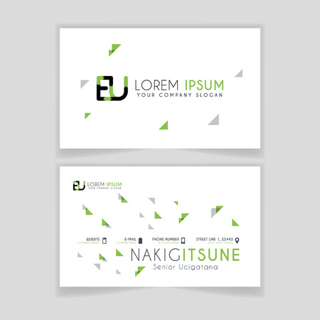 Simple Business Card with initial letter EU rounded edges with green accents as decoration.