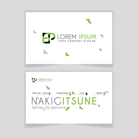 Simple Business Card with initial letter EP rounded edges with green accents as decoration.