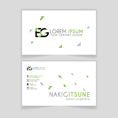 Simple Business Card with initial letter EG rounded edges with green accents as decoration.