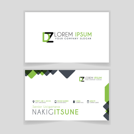 Simple Business Card with initial letter DZ rounded edges with green accents as decoration.