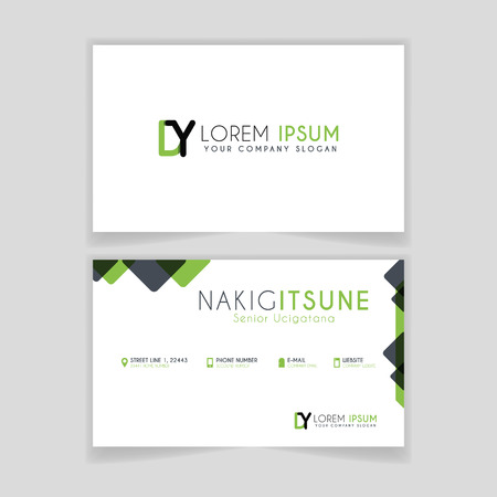 Simple Business Card with initial letter DY rounded edges with green accents as decoration.