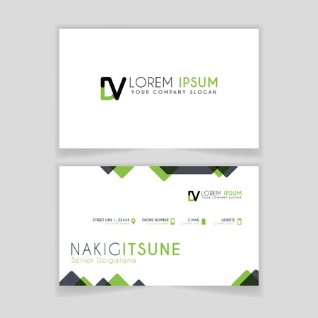 Simple Business Card with initial letter DV rounded edges with green accents as decoration.