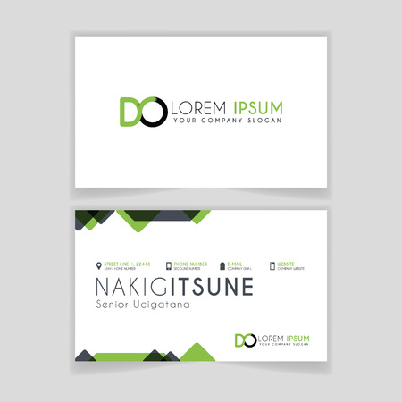 Simple Business Card with initial letter DO rounded edges with green accents as decoration.