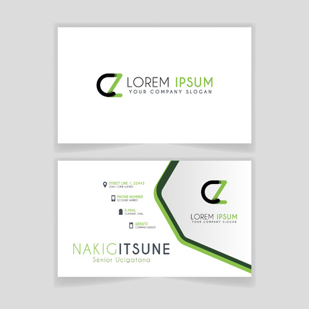 Simple Business Card with initial letter CZ rounded edges with green accents as decoration. Illustration