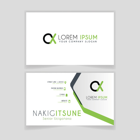 Simple Business Card with initial letter CX rounded edges with green accents as decoration. Illustration