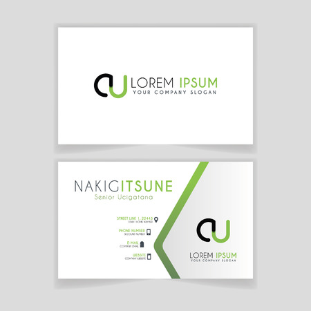 Simple Business Card with initial letter CU rounded edges with green accents as decoration.
