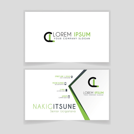 Simple Business Card with initial letter CL rounded edges with green accents as decoration. Illustration