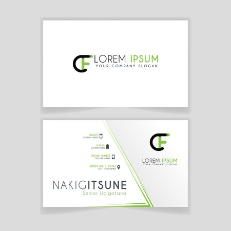 Simple Business Card with initial letter CF rounded edges with green accents as decoration. Illustration