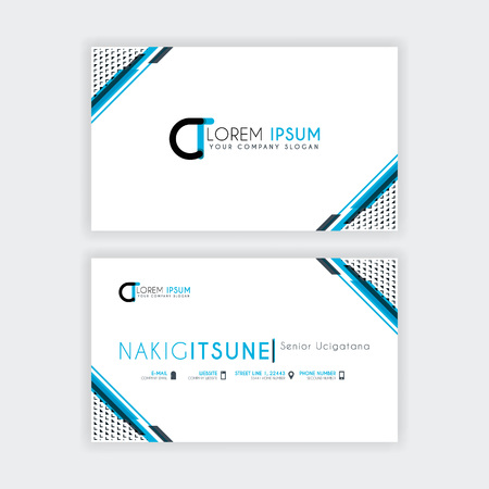 Simple Business Card with initial letter CT rounded edges with a blue and gray corner decoration. Illustration