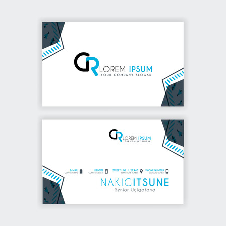 Simple Business Card with initial letter CR rounded edges with a blue and gray corner decoration. Illustration