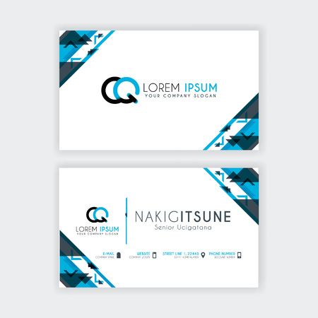 Simple Business Card with initial letter CQ rounded edges with a blue and gray corner decoration. Illustration