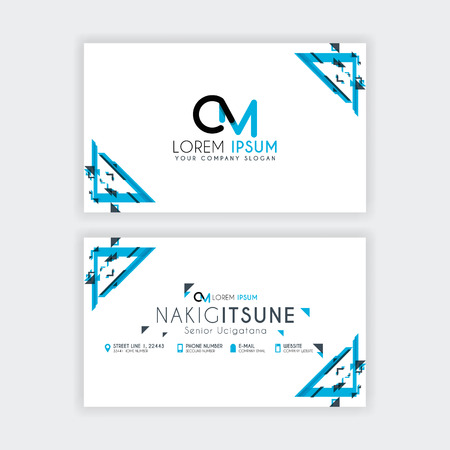 Simple Business Card with initial letter CM rounded edges with a blue and gray corner decoration.