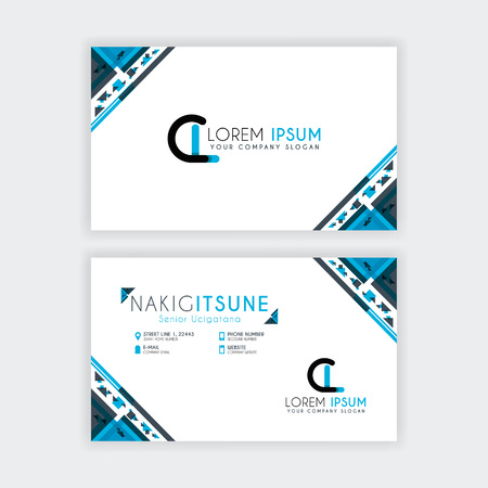 Simple Business Card with initial letter CL rounded edges with a blue and gray corner decoration.