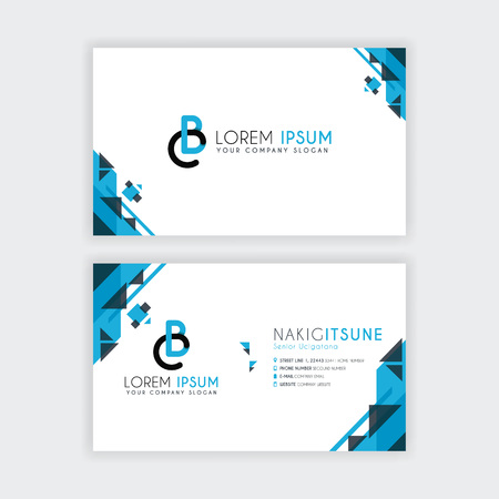Simple Business Card with initial letter CB rounded edges with a blue and gray corner decoration.
