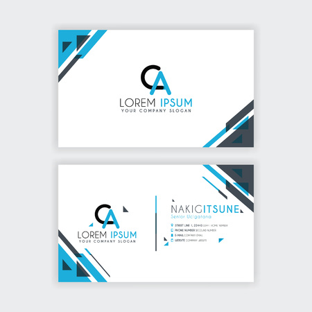 Simple Business Card with initial letter CA rounded edges with a blue and gray corner decoration. Illustration