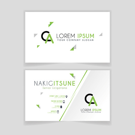 Simple Business Card with initial letter CA rounded edges with green accents as decoration. Illustration