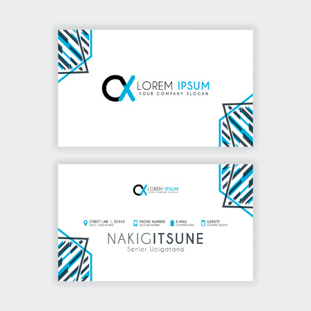 Simple Business Card with initial letter CX rounded edges with a blue and gray corner decoration.