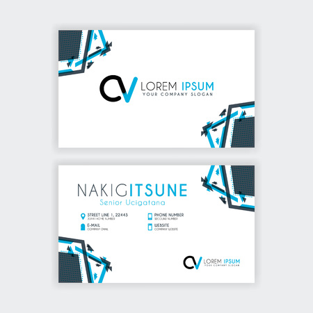 Simple Business Card with initial letter CV rounded edges with a blue and gray corner decoration.
