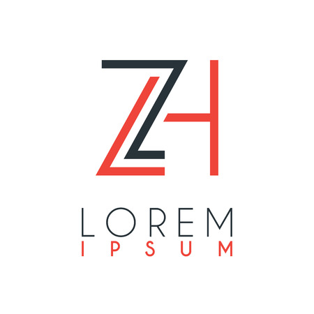 The logo between the letter Z and letter H or ZH with a certain distance and connected by orange and gray color Illusztráció