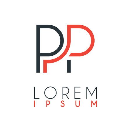 The logo between the letter P and letter P or PP with a certain distance and connected by orange and gray color