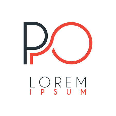 The logo between the letter P and letter O or PO with a certain distance and connected by orange and gray color Ilustração