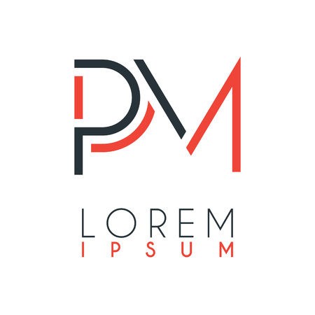 The logo between the letter P and letter M or PM with a certain distance and connected by orange and gray color 일러스트