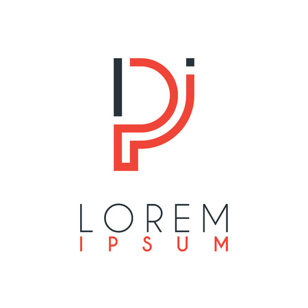 The logo between the letter P and letter I or PI with a certain distance and connected by orange and gray color Illustration