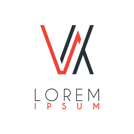 The logo between the letter V and letter X or VX with a certain distance and connected by orange and gray color