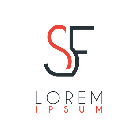 The logo between the letter S and letter F or SF with a certain distance and connected by orange and gray color Illusztráció