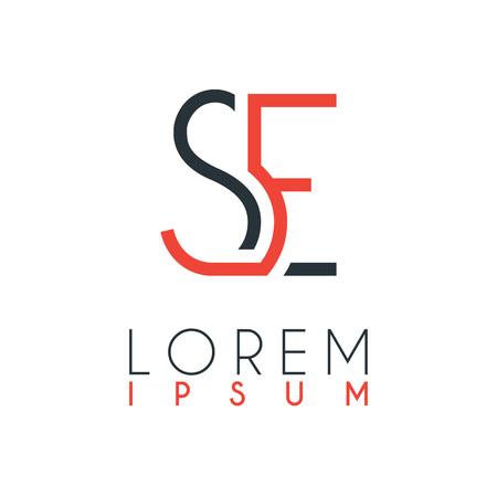 Het logo tussen de letter S en letter E of SE met een bepaalde afstand en verbonden door oranje en grijze kleur