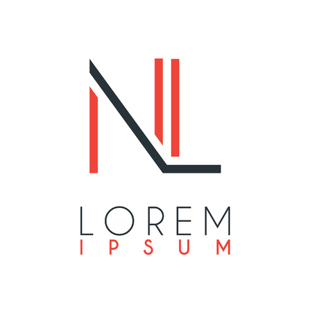 The logo between the letter N and letter L or NL with a certain distance and connected by orange and gray color