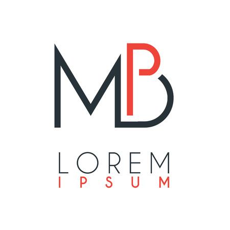 Het logo tussen de letter M en letter B of MB met een bepaalde afstand en verbonden door oranje en grijze kleur