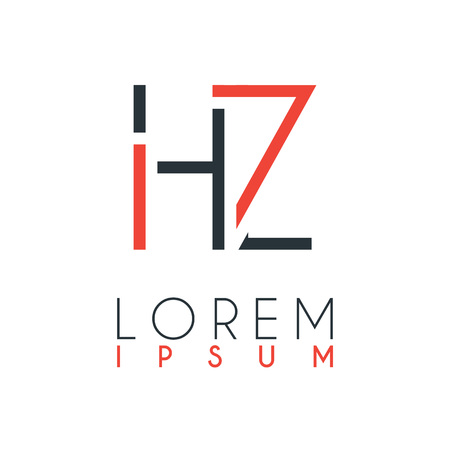 The logo between the letter H and letter Z or HZ with a certain distance and connected by orange and gray color
