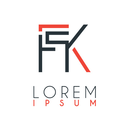 The logo between the letter F and letter K or FK with a certain distance and connected by orange and gray color