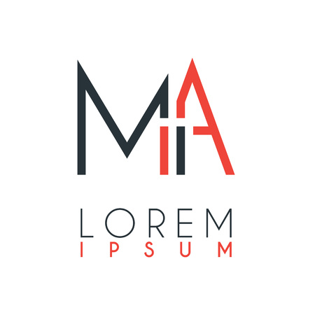 The logo between the letter M and letter A or MA with a certain distance and connected by orange and gray color