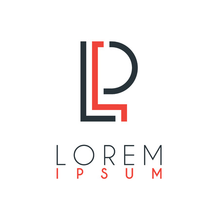 The logo between the letter L and letter P or LP with a certain distance and connected by orange and gray color