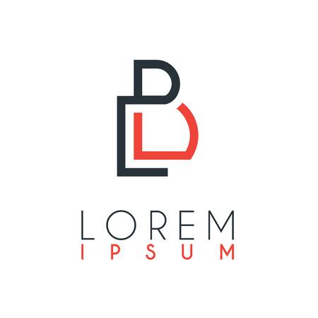 Het logo tussen de letter L en letter B of LB met een bepaalde afstand en verbonden door oranje en grijze kleur