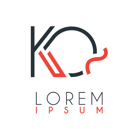 The logo between the letter K and letter Q or KQ with a certain distance and connected by orange and gray color Illusztráció