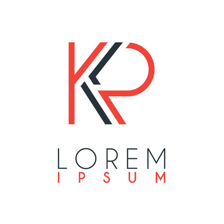 The logo between the letter K and letter P or KP with a certain distance and connected by orange and gray color Stock Vector - 103382684