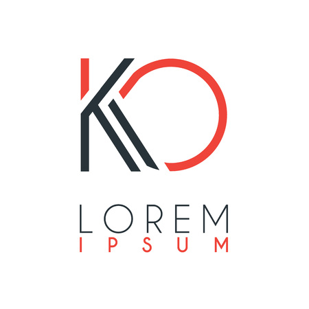 The logo between the letter K and letter O or KO with a certain distance and connected by orange and gray color