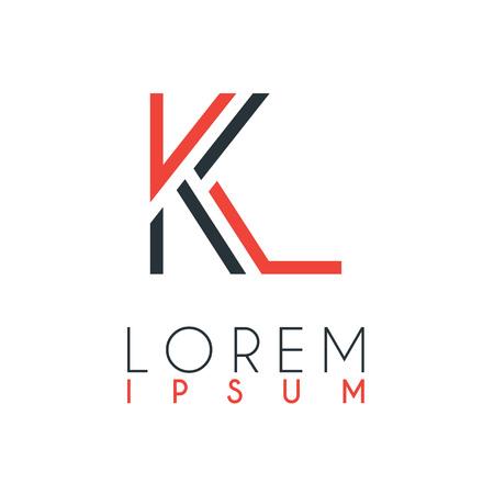 Logo między literą K a literą L lub KL z pewną odległością i połączone kolorem pomarańczowym i szarym