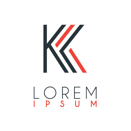 The logo between the letter K and letter K or KK with a certain distance and connected by orange and gray color