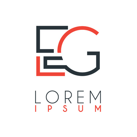 The logo between the letter E and letter G or EG with a certain distance and connected by orange and gray color