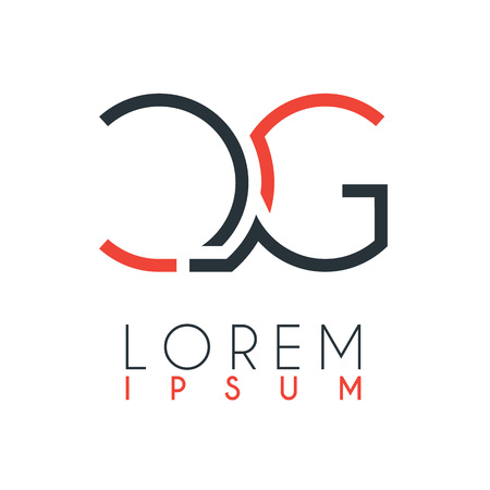 El logotipo entre la letra C y la letra G o CG con una cierta distancia y conectado por color naranja y gris Logos