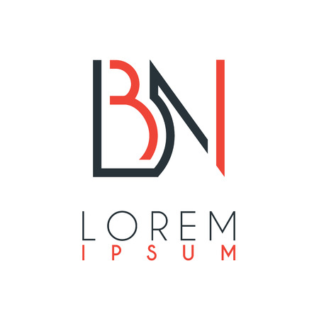 The logo between the letter B and letter N or BN with a certain distance and connected by orange and gray color Logó