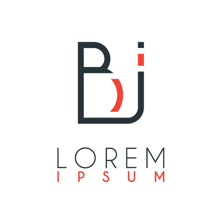 The logo between the letter B and letter J or BJ with a certain distance and connected by orange and gray color